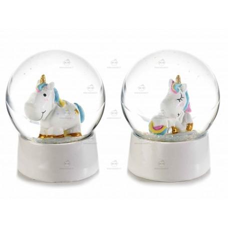 Palla a neve in resina con unicorni