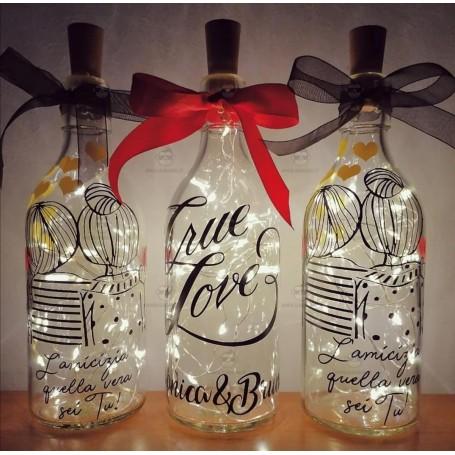 Bottiglia in Vetro con Led Personalizzabile